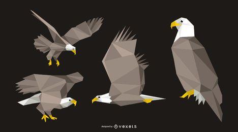 Conjunto de Design de águia poligonal
