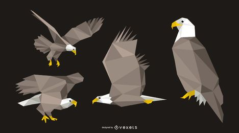 Polygonal Eagle Design Set