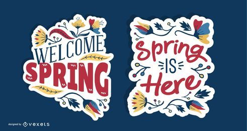 Frühling-Beschriftungs-Design-Set