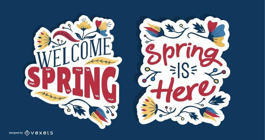 Spring Lettering Design Set
