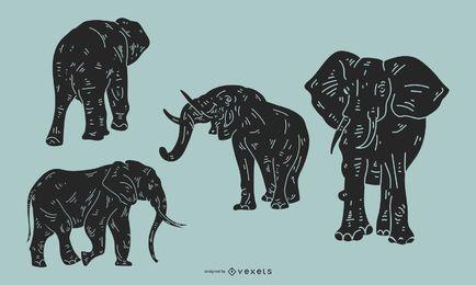Conjunto de silhueta detalhada de elefante