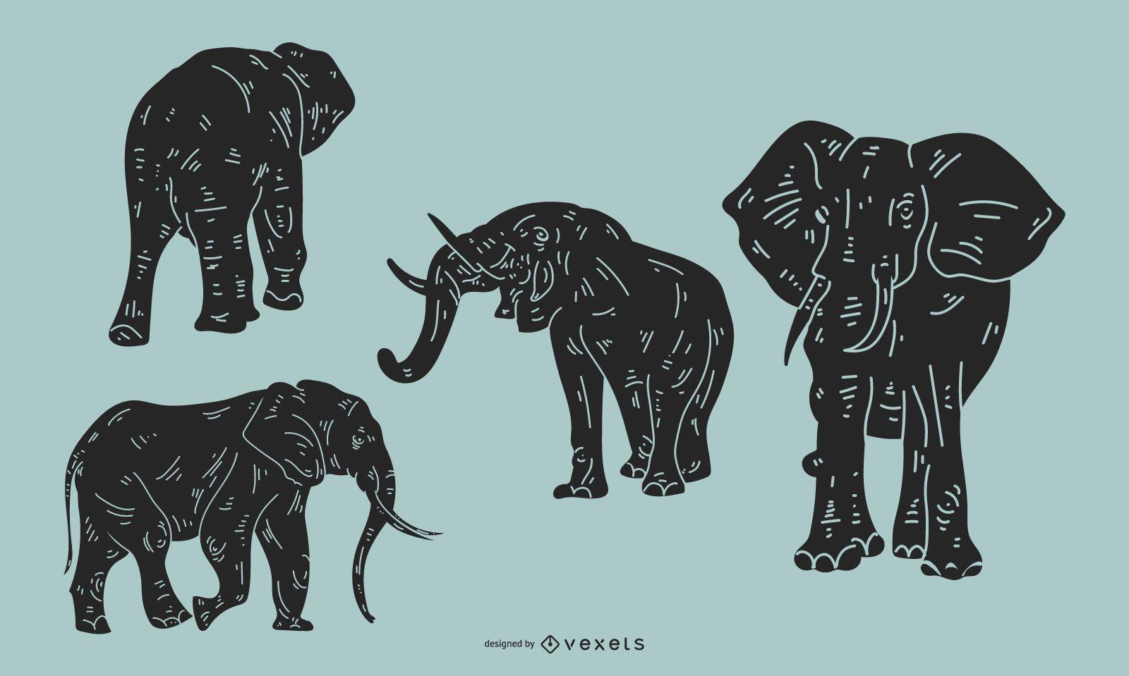 Conjunto de silueta detallada de elefante