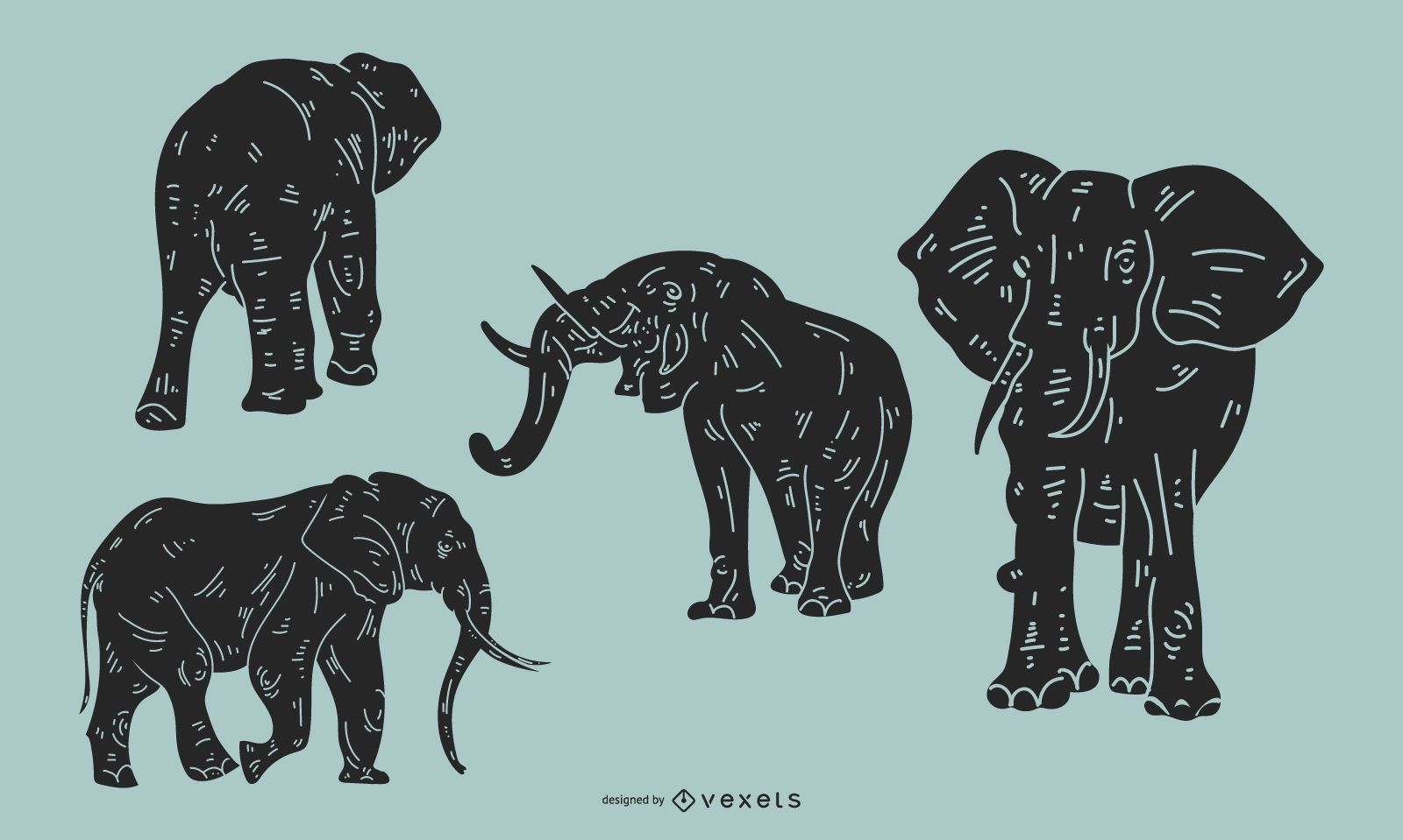Elephant Detailed Silhouette Set