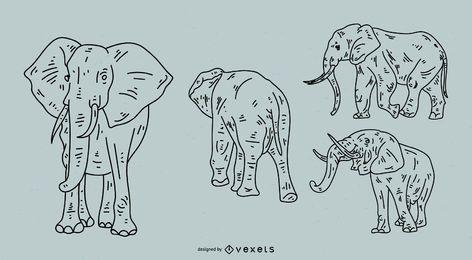 Conjunto de estilo de traçado de elefante