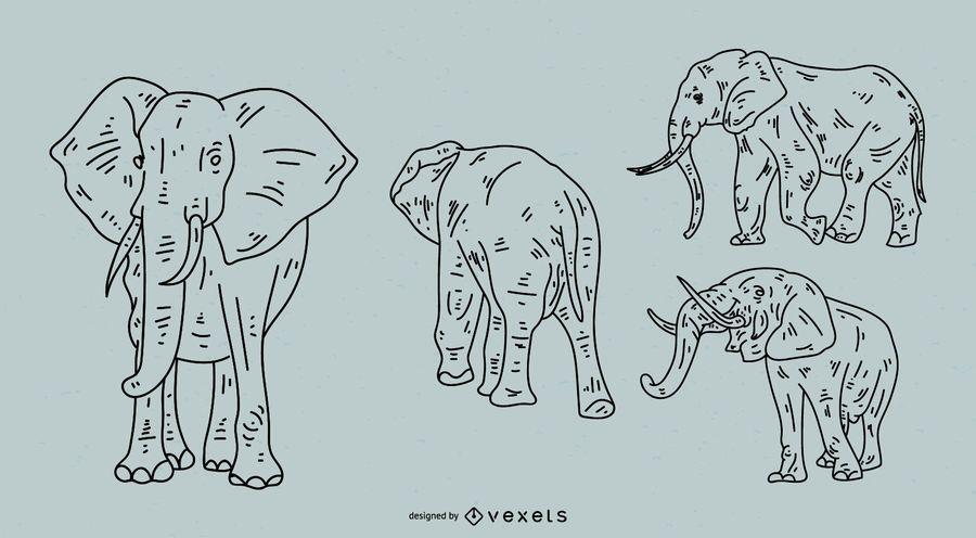 Juego de estilo de trazo de elefante