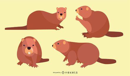 Conjunto de ilustración de castor plano