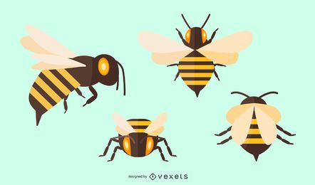 Conjunto de ilustração de abelha plana