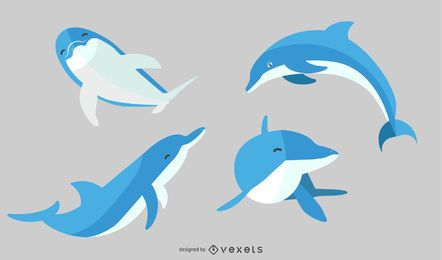 Conjunto de golfinhos de ilustração plana