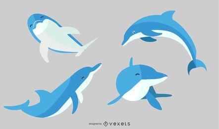 Flaches Illustrations-Delphin-Set
