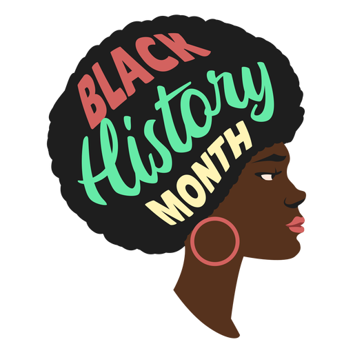 Black history month woman earring flat Transparent PNG