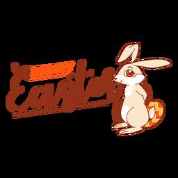 Insignia del saludo del huevo del conejo de pascua del conejito