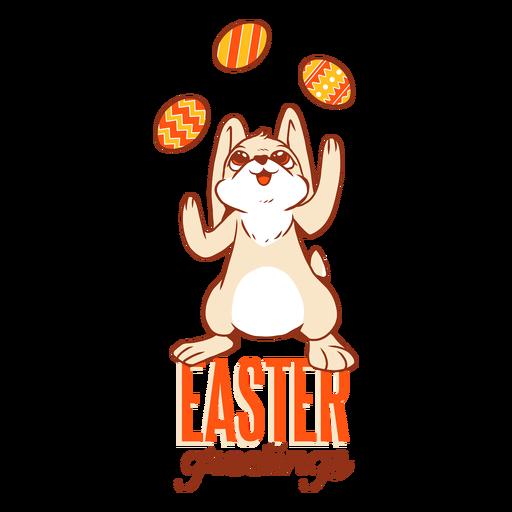Bunny easter rabbit egg juggling badge