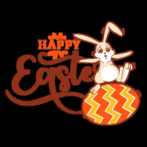 Bunny rabbit easter egg greeting badge