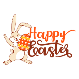 Bunny rabbit happiness easter egg greeting badge
