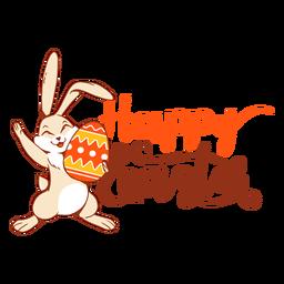 Insignia del saludo del huevo de Pascua de la felicidad del conejo de conejito