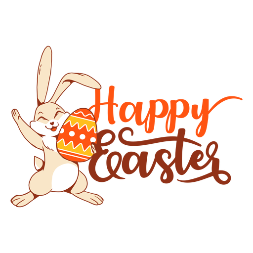 Bunny rabbit happiness easter egg greeting badge Transparent PNG