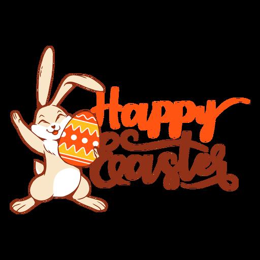 Insignia del saludo del huevo de Pascua de la felicidad del conejito