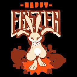 Insignia del saludo del huevo de Pascua de la cáscara del conejo de conejito