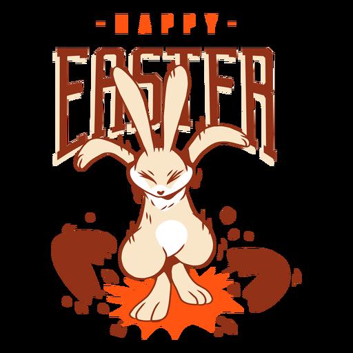 Insignia del saludo del huevo de Pascua de la c?scara del conejo del conejito