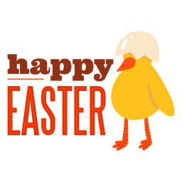 Chicken beak shell happy easter greeting badge