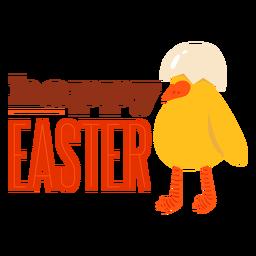 Insignia de saludo de pascua feliz concha de pico de pollo