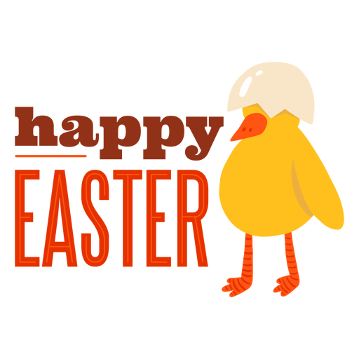 Chicken beak shell happy easter greeting badge Transparent PNG