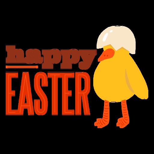 Divisa feliz del saludo de pascua de la cáscara del pico del pollo Transparent PNG