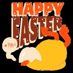Insignia del saludo de Pascua de la cáscara del pico de la burbuja del pollo
