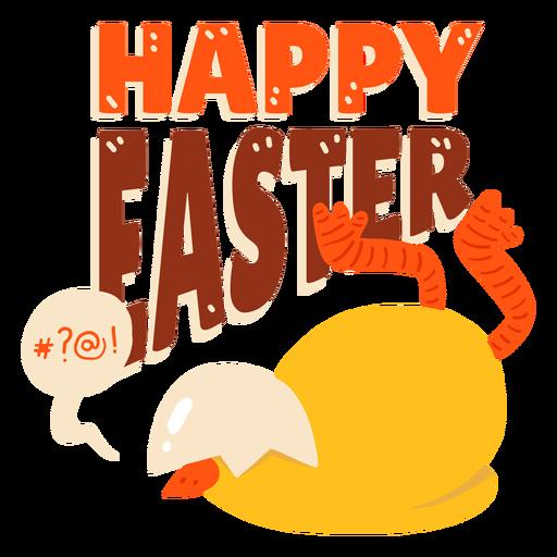 Insignia del saludo de Pascua de la c?scara del pico de la burbuja del pollo