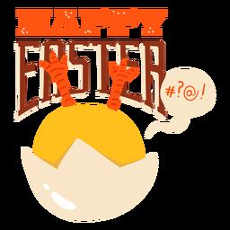 Insignia del saludo de Pascua de la cáscara de la burbuja del pollo