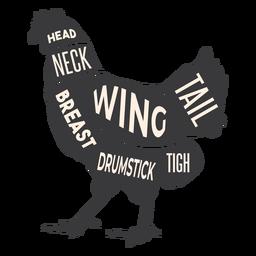Silueta de carne de pollo