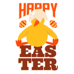 Insignia de saludo de pascua de concha de pico de pollo sentado