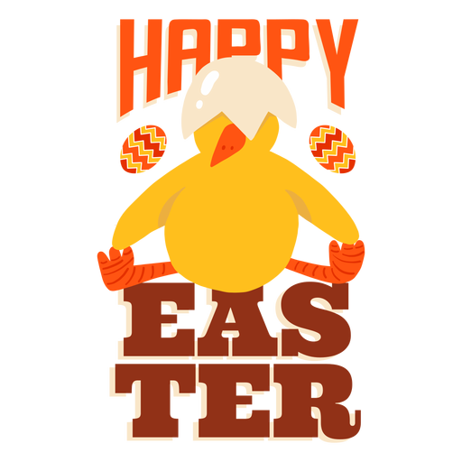 Chicken sitting beak shell easter greeting badge Transparent PNG