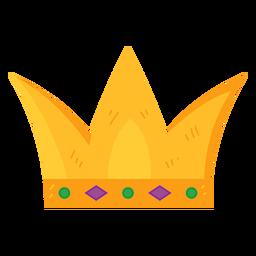 Corona monarquía oro gema plana