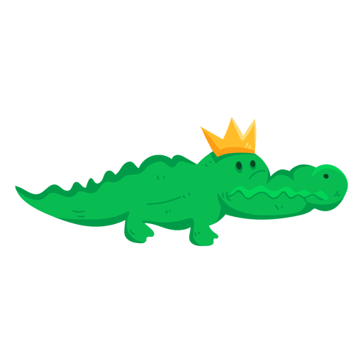 Cute crown crocodile alligator tail flat Transparent PNG