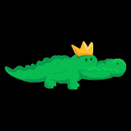 Cute crown crocodile alligator tail flat