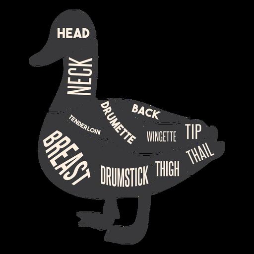 Silueta de carne de pato Transparent PNG