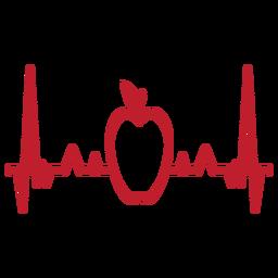 Latido del corazón cardiograma de manzana trazo
