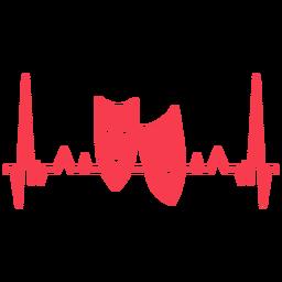 Parar de cardiograma de par de máscara de batimento cardíaco