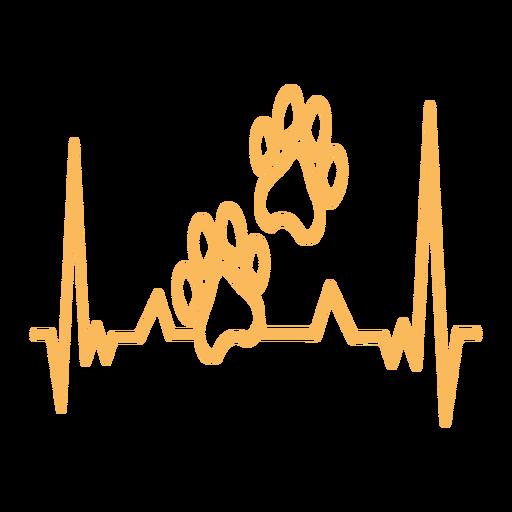 Heartbeat paw print cardiogram stroke