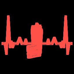 Percurso de cardiograma de bilhete de cinema de pipoca de batimento cardíaco