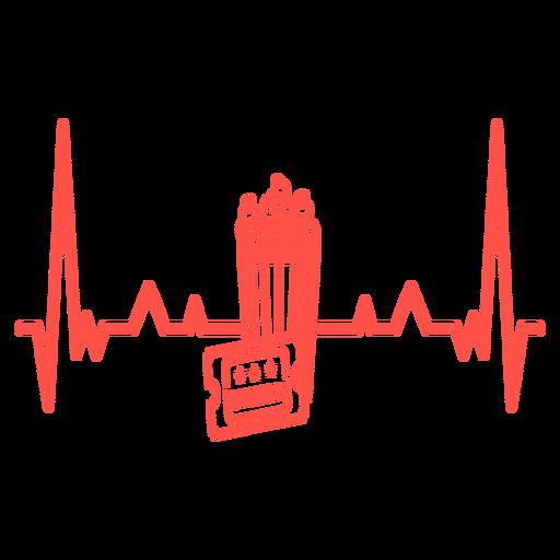 Percurso de cardiograma de bilhete de cinema de pipoca de batimento cardíaco Transparent PNG
