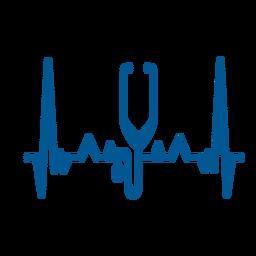 Latido del corazón estetoscopio cardiograma trazo