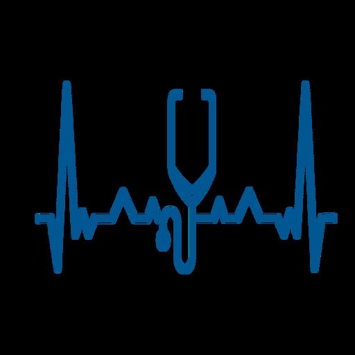 Trazo de cardiograma estetoscopio de latido del corazón