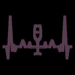 Latido del corazón cardiograma copa de vino trazo