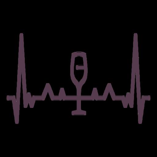 Corazón latido copa de vino cardiograma trazo
