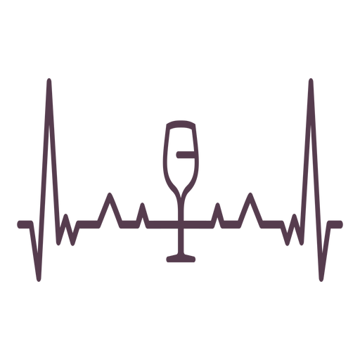 Heartbeat wine glass cardiogram stroke Transparent PNG