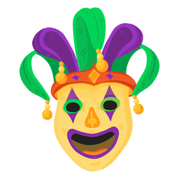 Mask clown buffoon jester flat