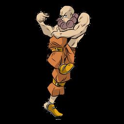 Monje atleta músculo pose mirada ilustración