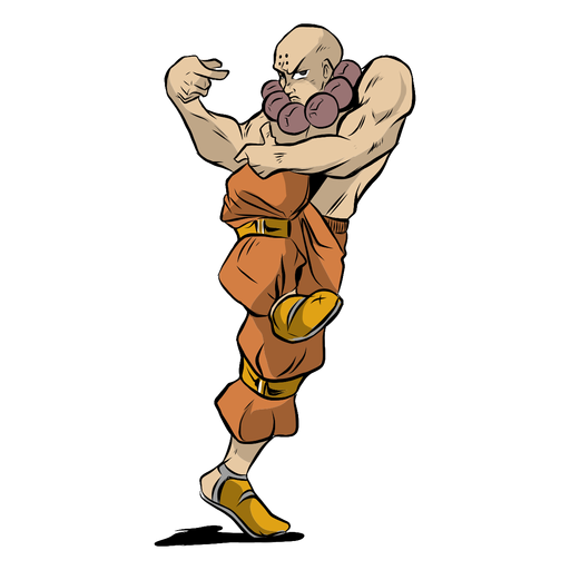Monje atleta músculo pose mirada ilustración Transparent PNG